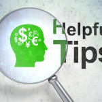 Education concept: Head With Finance Symbol and Helpful Tips with optical glass